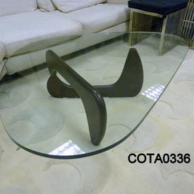 Black Ash Frame Noguchi inspired Coffee Table with Shaped Glass Top