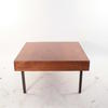 "29"" Square Dark Sapele Black Metal Leg Coffee Table"