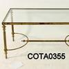 "3' X 18"" Rectangular Brass Glass Coffee Table"