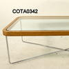 Gilmore Space Rect Glass & Oak Bent Corner Coffee Table