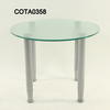 60cm Circ Frosted Glass/Brushed Steel Leg  Coffee Table
