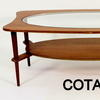 70's 4'  Teak & Oval Glass/Oval Teak Shelf Coffee Table  (50s)