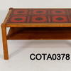 90x50cm Oak 2 Tier Red Tile Top Coffee Table