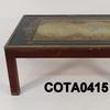 Mahogany & Brass Nautical Atlas Blk & Gilt Top Coffee Table