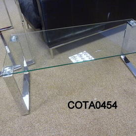 100X45Cm Omega Glass & Chrome Rect Coffee Table