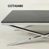 Zara Thick Chrome X Base & Black Glass 120 X60 Coffee Table