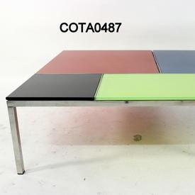 100cm Sq  Multi Colour Panel Glass & Chrome Frame C/Table Base