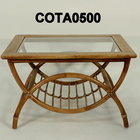 Beech C/Table W/2 Semi-Circle Bamboo Frame & Glass inset