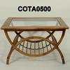 75x60cm Beech C/Table W/2 Semi Circle Bamboo Frame & Glass I