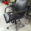 Black Leather Low Back Angular 'i.B.' Desk Chair On Castors