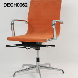 Ribbed Orange Suede Martin Style Eames Low Back Swivel Chair