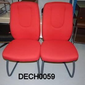 Carlton Red Fabric Hi Back Occ Cantilever Visitors Chair