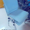 Mauser Pale Blue Fabric Silver Frame Stacking Chair
