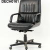 Black Hide Black Trim Ribbed Low Back Guam Executive Chair