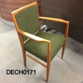 Green Fabric And Teak Elbow Chair  (50S)