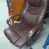 Brown Leather High Back Padded/Stitched Edge Swivel Chair