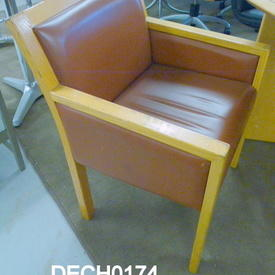 Light Oak Frame/Tan Leather Tub Chair
