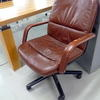 70's Ox Blood Leather Low Back Swivel Chair