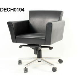 Mariani Black Leather 'Ares' Swivel Meeting Chair