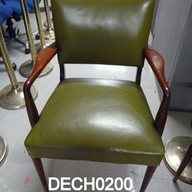 Bottle Green Leather Studded Rosewood Elbow Boardroom Chair