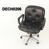 Low Back Black Leather  Buttoned 70's Swivel Desk Chair