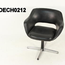 Black Vinyl Swivel Tub Desk Chair