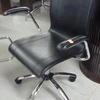 Black Hide & Chrome 5 Prong Swivel Elbow Chair