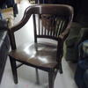 40's Dark Oak Chunky Slatted Back Elbow Or Occ Chair