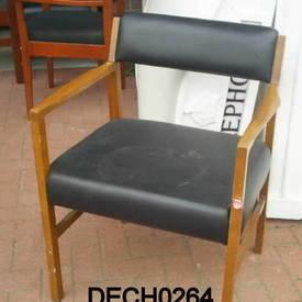 Black Vinyl And Teak Visitors Elbow Chair  (50S)