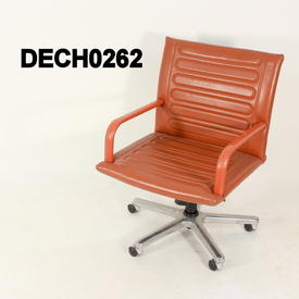 Tan Leather Ribbed Executive Low Back Swivel Chair