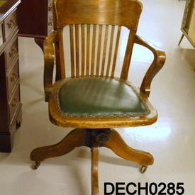 40'S Medium Oak Stickback / Green Studded Seat Swivel Chair
