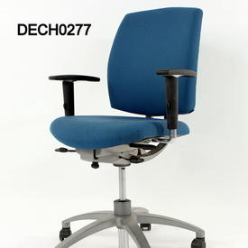 Teal Blue  Fabric Black Elbow Fabric Typist Chair