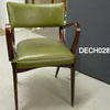Dark Stained Oak Green Vinyl Elbow  Chair