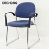 Ahrend Blue Fabric Chrome Frame Black Elbow Tilt Back Chair