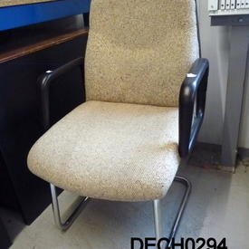 70'S Beige Fabric Dark Brown Elbow Cantilever Chair