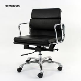 Black Leather And Chrome Low Back Softpad Executive Chair On Castors