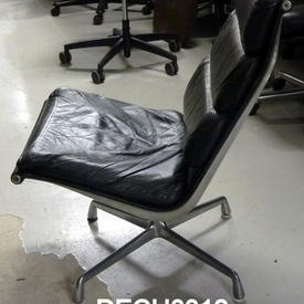 Blk Leather & Ali Herman Miller 'eames' Softpad Lounge Chair