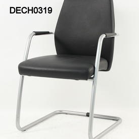 Silver & Black Leather Cantilever Visitor Chairs