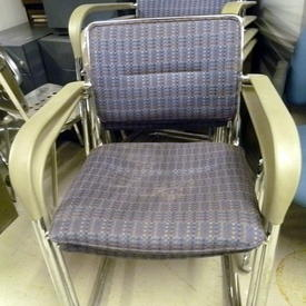 Pink/Grey/Blue Check Fabric Grey Arm/Chrome Canti Base Visitors Chair