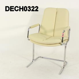 Cream Leather Chrome Frame Pieffe Visitor Chair Sven