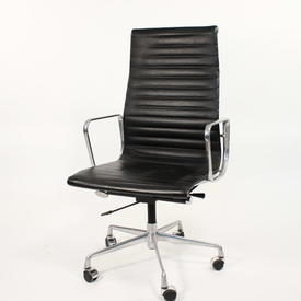 Black Leather & Chrome Eames Style Ribbed High Back Swivel Chair