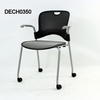 Grey Perforated Back/Silver Mesh Seat Elbow Visitor Chair On Castors