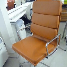 Tan  Leather And Chrome High Back Eames Style Softpad  Chair