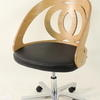 Curved French Birch/Black Leather Seat Hoop Back Home Office Estrade Swivel Chair