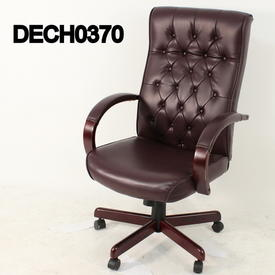 Dull Red Buttoned Leather & Mahogany High Back Swivel Chair