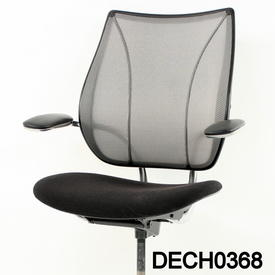 Black & Chrome Black Mesh Back Liberty Fixed Arm Swivel Chair