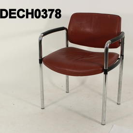 Oxblood Leather And Chrome Visitors Chair with Black Arms