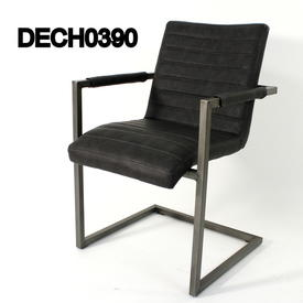 Rsf Grey Ribbed Leather & Metal Cantilever Elbow Chair