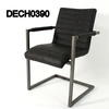 Rsf Grey Ribbed Leather & Metal Elbow Chair