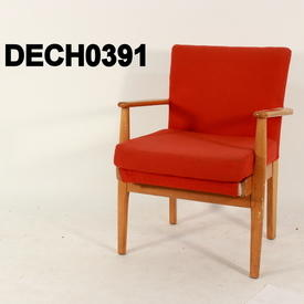 Red Fabric & Beech Parker Knoll Elbow Chair